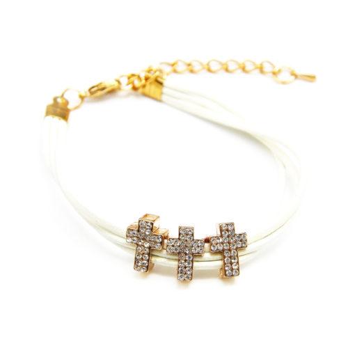 Bracelet-Triple-Cordon-Ecru-avec-3-Charms-Croix-Strass