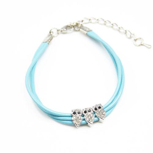 Bracelet-Triple-Cordon-Bleu-avec-3-Charms-Chouette-Strass