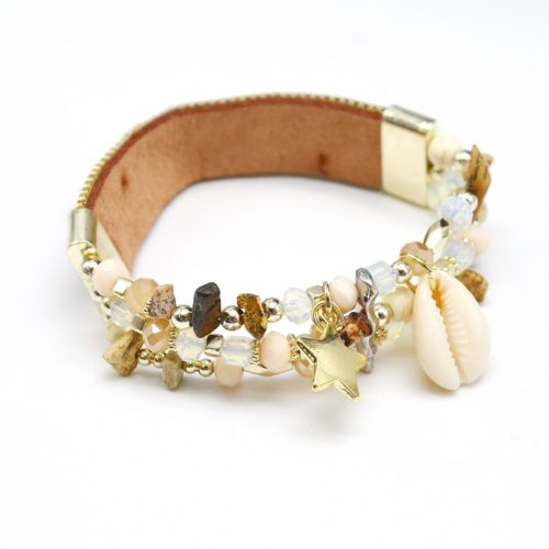 Bracelet-Elastique-Bande-Fils-Tresses-Bresilien-BeigeMarron-et-Perles-avec-Charms