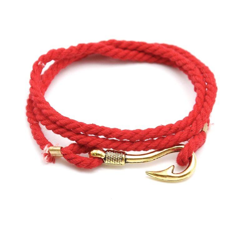 Bracelet-Cordon-Tresse-3-Tours-Rouge-Charm-Hook-Crochet-Metal-Dore
