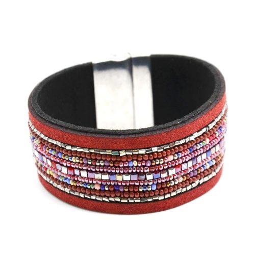 Bracelet-Manchette-Feutrine-avec-Multi-Rangs-Perles-Rocaille-Bordeaux