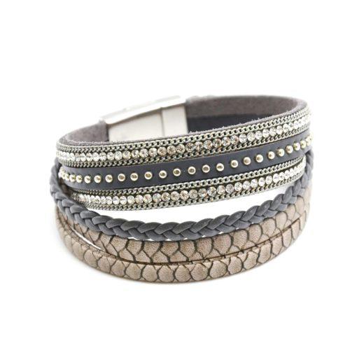 Bracelet-Manchette-Multi-Rangs-Cuir-Ecailles-Tresse-Clous-et-Strass-Gris