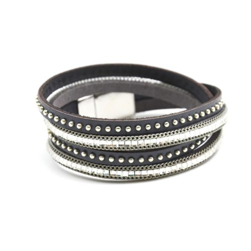 Bracelet-Double-Tour-Pierres-Carrees-et-Cuir-Clous-Gris-Fonce