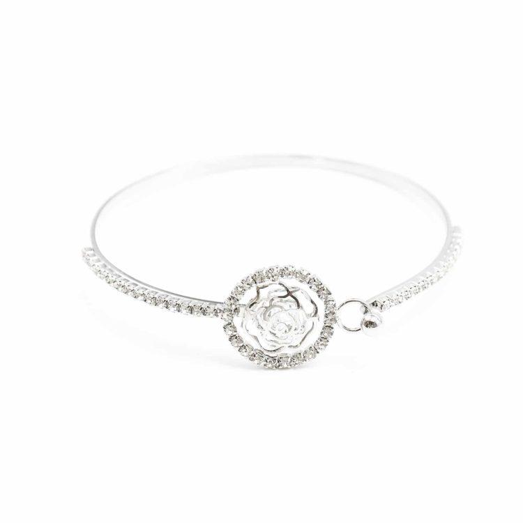 Bracelet-Jonc-Fleur-avec-Cristaux-et-Contour-Cercle-Strass-Argente