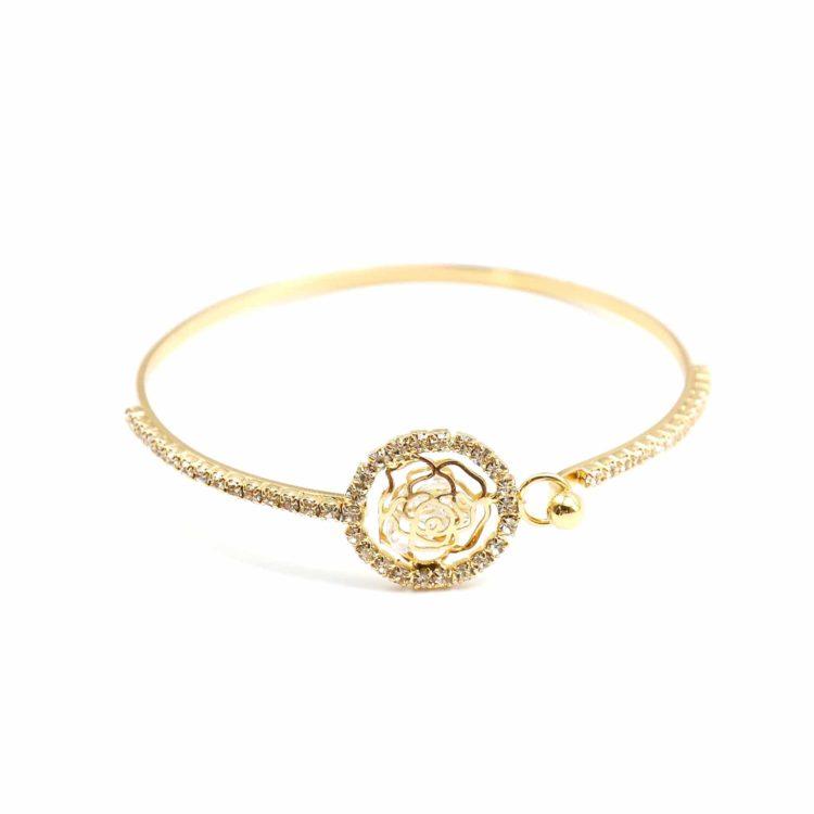 Bracelet-Jonc-Fleur-avec-Cristaux-et-Contour-Cercle-Strass-Dore