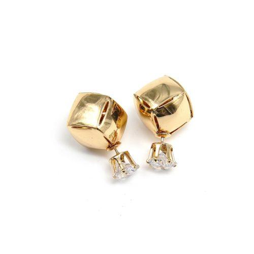 Boucles-dOreilles-Double-Perles-Pierre-Strass-et-Carre-Metallise-Dore