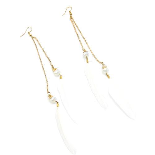 Boucles-dOreilles-Pendantes-Double-Chaines-Metal-Dore-et-Plumes-Blanches