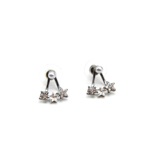 Boucles-dOreilles-Balancier-Mini-Perle-et-Triple-Etoile-Strass-Metal-Gris