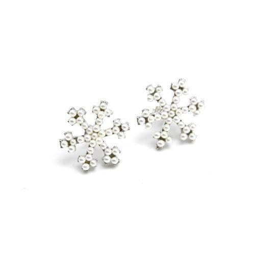 Boucles-dOreilles-Flocon-Orne-de-Mini-Perles-Ecru
