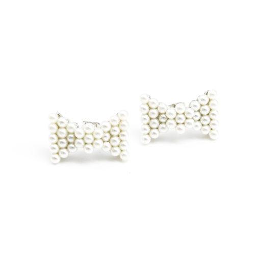Boucles-dOreilles-Noeud-Papillon-Orne-de-Mini-Perles-Ecru