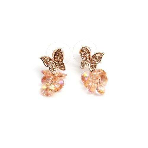 Boucles-dOreilles-Papillon-Strass-Or-Rose-et-Grappe-de-Perles-Vieux-Rose