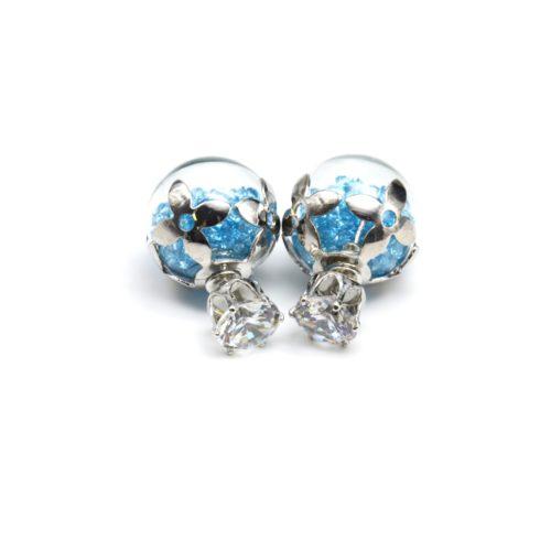 Boucles-dOreilles-Double-Pierre-Coupole-Fleurs-et-Boule-Verre-Cristaux-Bleu