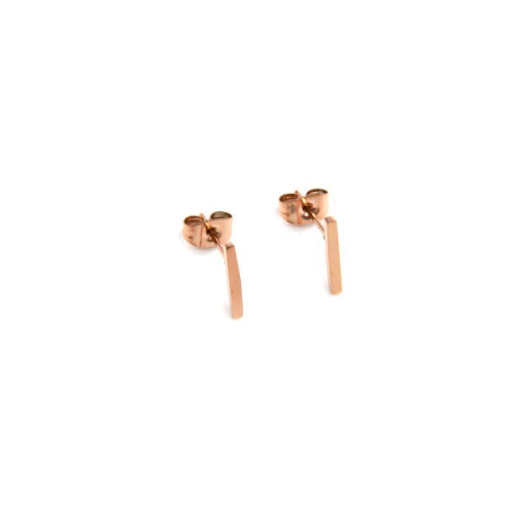 Boucles-dOreilles-Mini-Barres-Acier-Inoxydable-Or-Rose