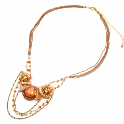 Collier-Multi-Chaines-Pendentif-Pierres-et-Perles-Ambre