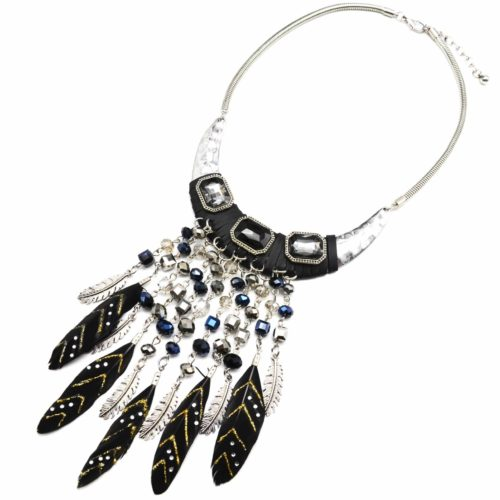 Collier-Demi-Torque-Plastron-Pierres-Perles-Brillantes-et-Plumes-Ethnique-Noir