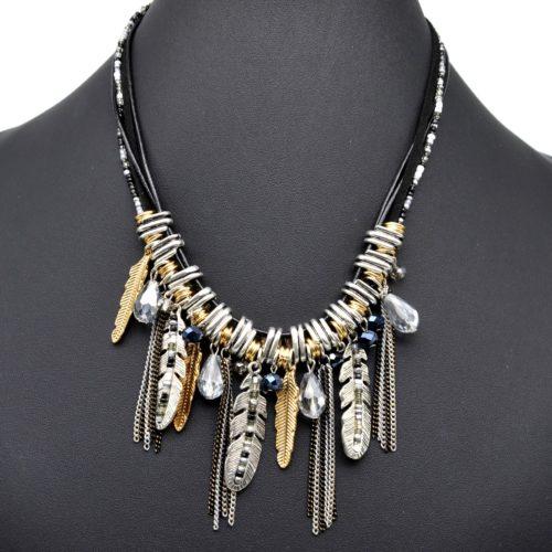 Collier-Cordons-et-Plastron-Ethnique-Chaines-Plumes-Metal-et-Perles-Noir