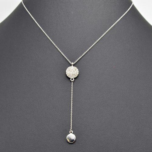 Collier-Fine-Chaine-Pendentif-Double-Cercles-Strass-et-Metal-Argente