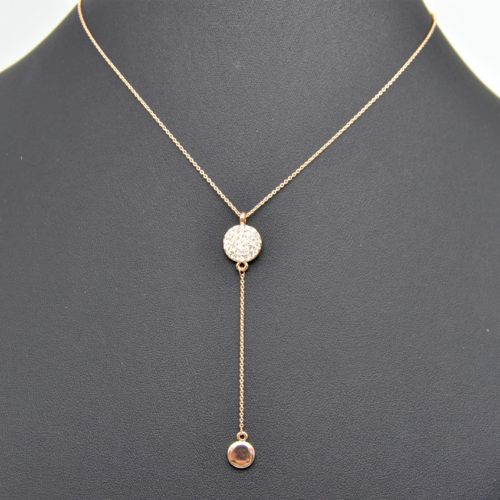 Collier-Fine-Chaine-Pendentif-Double-Cercles-Strass-et-Metal-Or-Rose