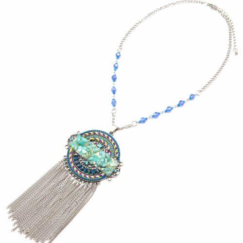 Collier-Pendentif-Cercle-Ethnique-Fils-Perles-Pierres-Turquoise-et-Chaines-Pendantes-Metal-Argente