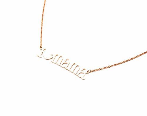 Collier-Fine-Chaine-et-Pendentif-Message-I-Love-Mama-Acier-Or-Rose