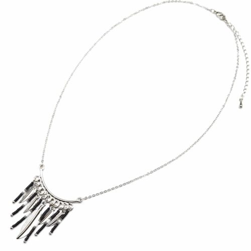 Collier-Fine-Chaine-avec-Pendentif-Perles-et-Plumes-Ethnique-Metal-Argente
