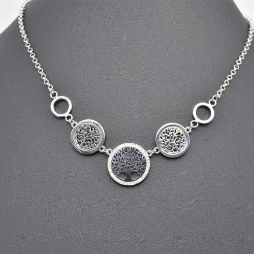 Collier-Fine-Chaine-avec-Pendentif-Multi-Cercles-Ajoures-Arbre-de-Vie-Metal-Strass-Argente