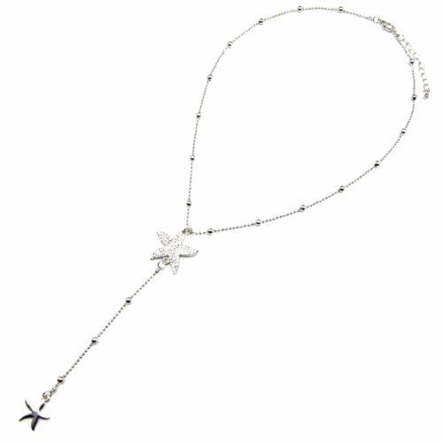Collier-Fine-Chaine-avec-Boules-et-Pendentif-Y-Etoiles-de-Mer-Strass-Metal-Argente