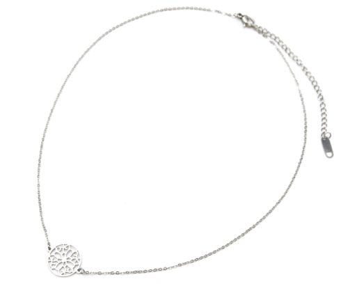 Collier-Fine-Chaine-et-Pendentif-Cercle-Ajoure-Acier-Argente