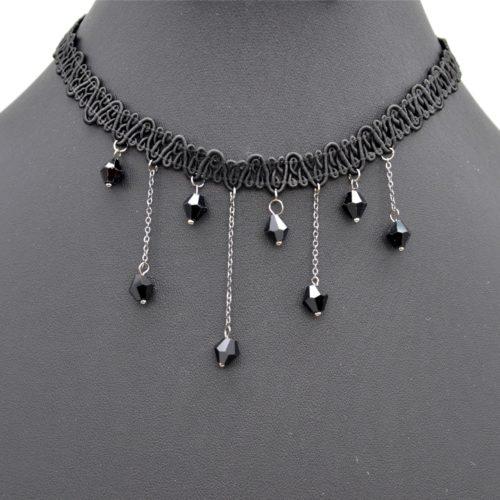 Collier-Choker-Ras-du-Cou-Bande-Ondulee-Noir-avec-Perles-et-Chaines-Metal-Gris