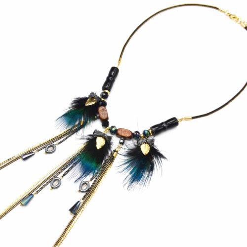 Collier-Pendentif-Plumes-de-Paon-Ethnique-avec-Chaines-Pendantes-Bois-et-Perles-Noir