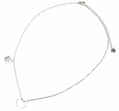 Collier-Fine-Chaine-Pendentif-Medaille-et-Trefle-Acier-Argente