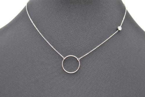 Collier-Fine-Chaine-Pendentif-Cercle-Ouvert-Acier-Argente-et-Pierre-Zirconium