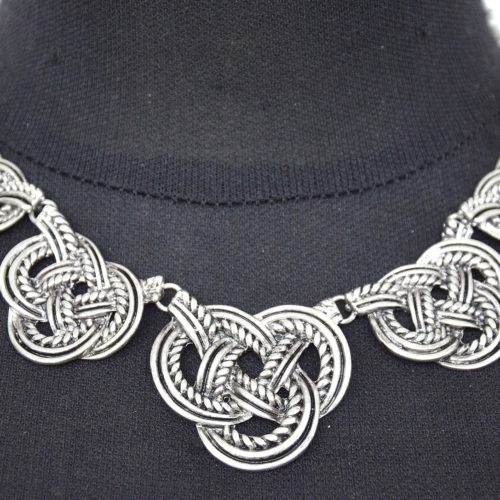 Collier-Plastron-Noeud-Marin-Metal-Vieilli-Argente-Vintage