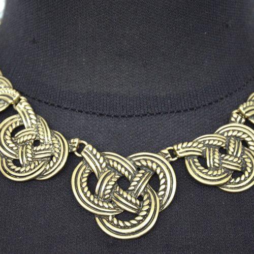 Collier-Plastron-Noeud-Marin-Metal-Vieilli-Dore-Vintage