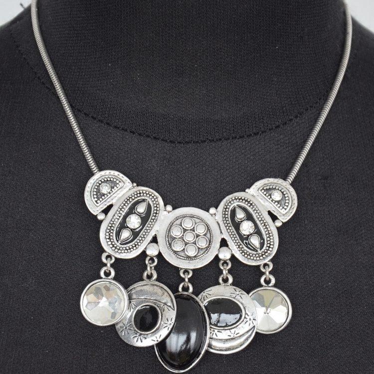 Parure-BO-et-Collier-Multi-Pieces-Metal-Vieilli-Argente-Vintage