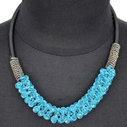Collier-Cordon-Plastron-Tube-Perles-Brillantes-Bleues