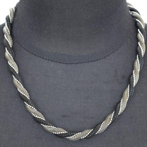 Collier-Statement-Chaine-Torsadee-Metal-NoirGris