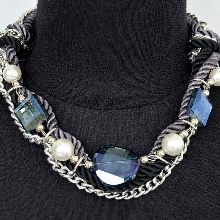 Collier-Chaine-Metal-Cordons-Tresses-et-Perles-NoirGris