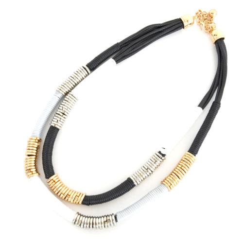 Collier-Double-Chaine-Cordons-Noir-Blanc-et-Anneaux-Metal