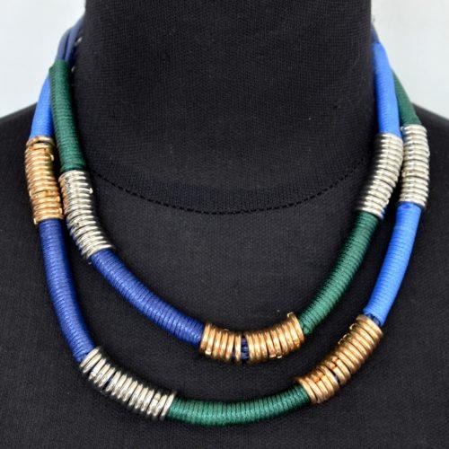 Collier-Double-Chaine-Cordons-BleuVert-et-Anneaux-Metal