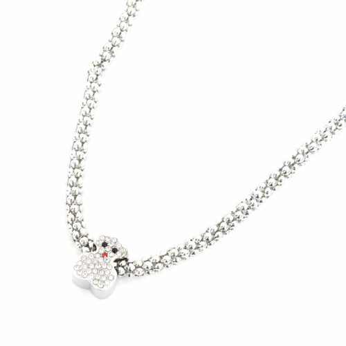 Collier-Grosse-Chaine-Pendentif-Ourson-Strass-Argente