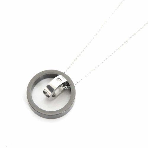 Collier-Pendentif-Double-Anneau-Metal-Strass-GrisArgente