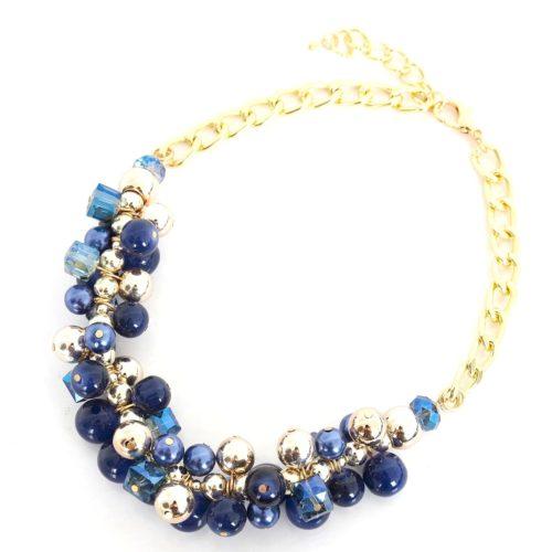Collier-Chaine-Metal-Plastron-Grappe-de-Perles-Bleu