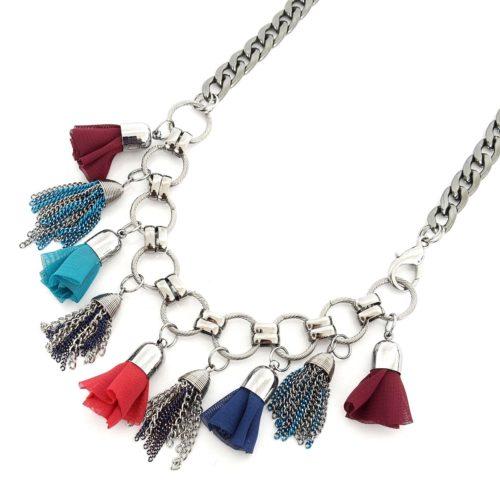 Collier-Plastron-Pompons-Chaines-Metal-et-Tissu-Froufrou-Multicolore