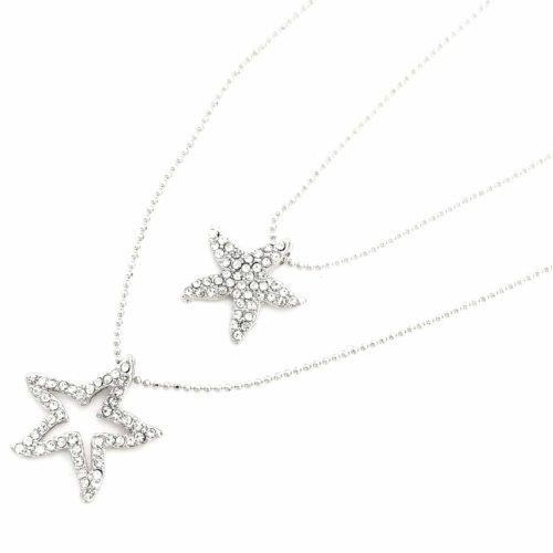 Collier-Double-Chaine-Pendentif-Etoiles-de-Mer-Strass-Argente