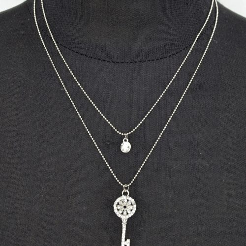 Collier-Double-Chaine-Pendentif-Cle-Strass-Argente