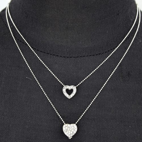 Collier-Double-Chaine-Pendentif-Coeurs-Strass-Argente