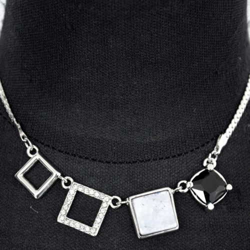 Collier-Pendentif-4-Carres-Metal-Strass-Nacre-Resine-Argente