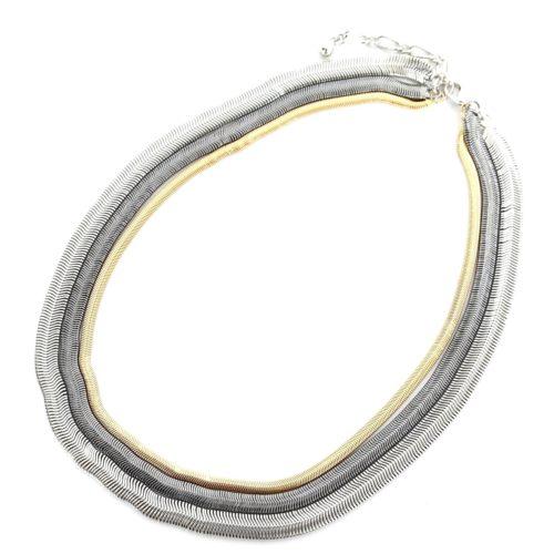 Collier-Multi-Rangs-Chaine-Maille-Serpent-Metal-Vieilli-Tricolore