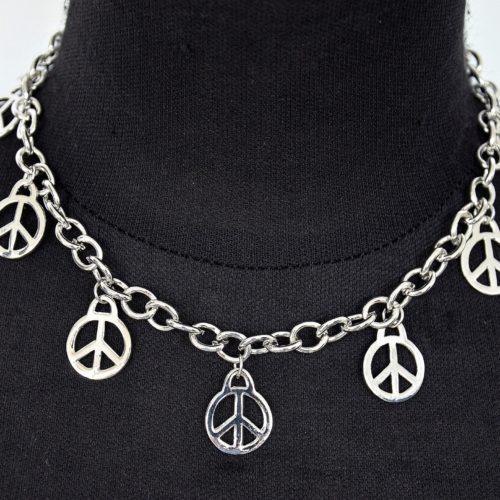 Collier-Chaine-Metal-et-Pendentifs-Symbole-Peace-Argente
